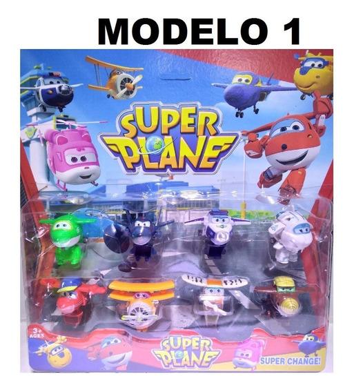 Kit 8 Carrinhos Aviões Super Wings Brinquedos Crianças