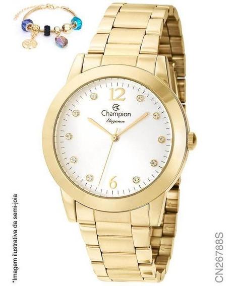 Relógio Feminino Dourado Champion Cn26788s + Pulseira