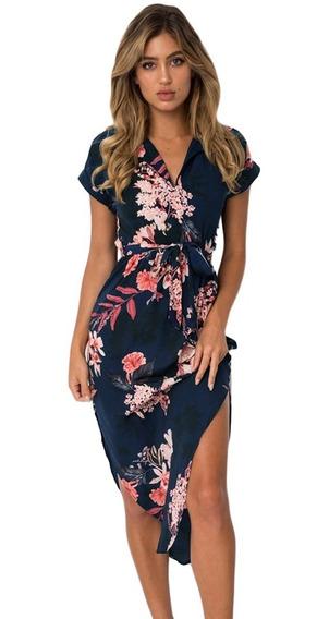 Vestido Para Dama Azul Marino Floreado Con Abertura Moderno