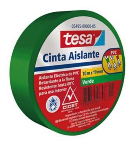 Imagen 1 de 3 de Cinta Aislante Tesa Verde 10 Mts X 19 Mm