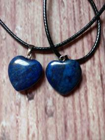 Colar Boho Lápis Lazuli Pingente Coração Pedra Natural