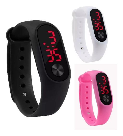 Relógio Digital Esportivo Bracelete Led Unissex Em 12x