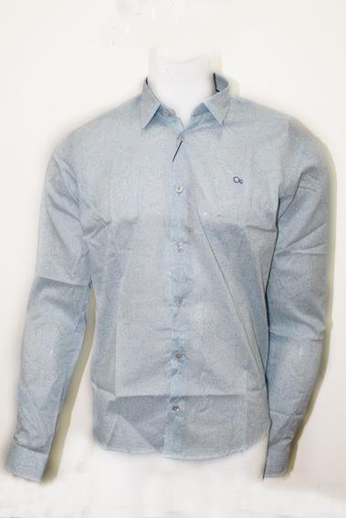 Camisa Social Masculina Azul Ogochi Original X001388272