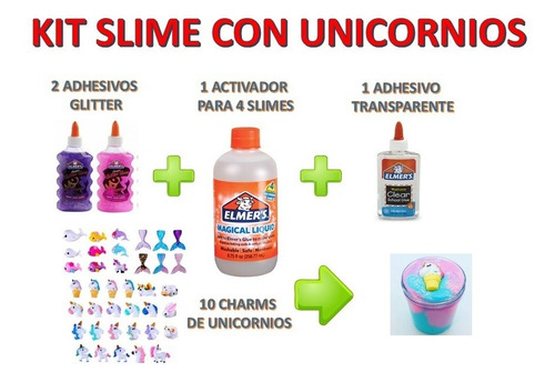 Kit Elmers Completo Para Hacer 4 Slimes Con Unicornios Caba