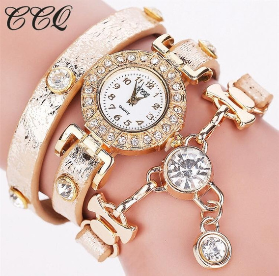 Relógio Feminino Cristal Luxo Pulseira Couro Quartz