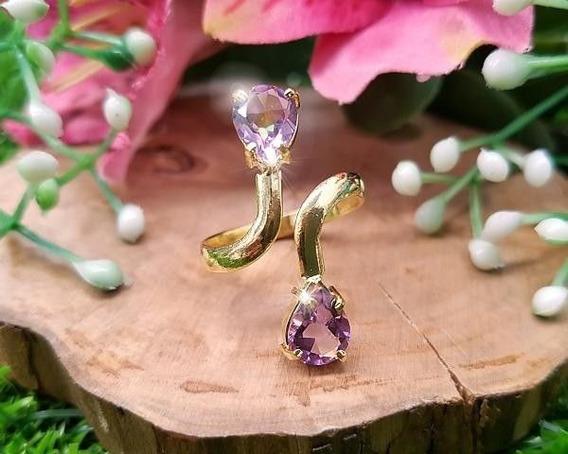 Anel De Ametista Banhado A Ouro (pedra Cristal De Proteção)