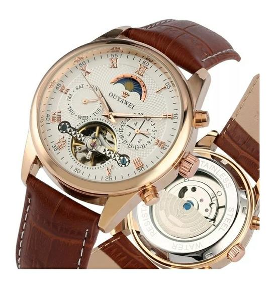 Relógio Automático Ouyawei Luxo Dourado