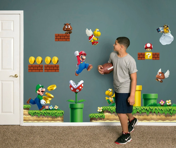 Vinilo Decorativo 3d Mario Bros Stickers De Pared 170x100cm