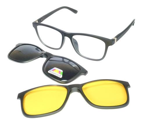 Armação Oculos De Grau Sol Feminino Masculino Clip On 3 Em 1