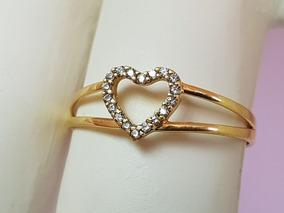 Anel Feminino Em Ouro 18k Coração Vazado Aro Duplo Zircônias