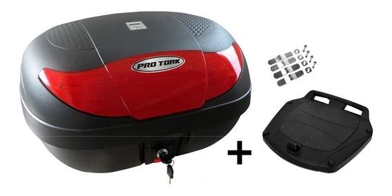 Bau Bauleto Moto 45 Litros Pro Tork Smart Box Com Base E Peças De Fixação Cabem 2 Capacetes