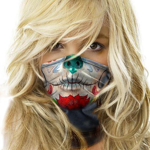 Bandana Mascara Caveira Mexicana Moto Ciclismo Proteção 01