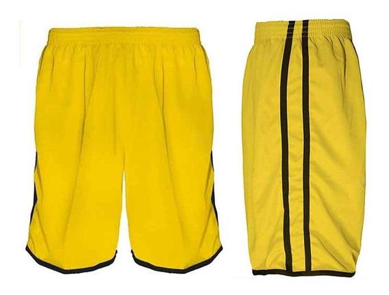 Calção Futebol Futsal Musculação-lotus-amarelo/preto--adulto