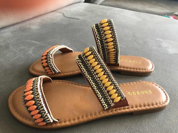 Sandalias Importadas Bordadas Con Piedras