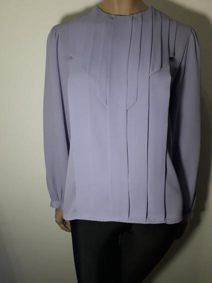 Blusa De Gasa Importada Color Lavanda Talle L Impecable