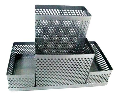 Imagen 1 de 6 de Organizador Metal Enrejado 4 Cuerpos 13x11x13cm Plateado