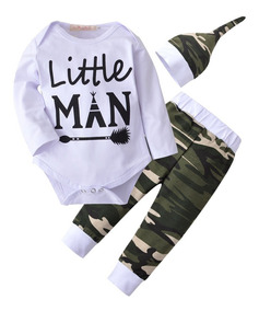 Roupa De Bebe Conjunto Bebê Body Calça Camuflada E Gorro