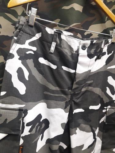 Pantalon Urbano Blanco Negro Camuflado Tactico Rip Stop Ardilla Camping