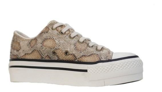 Zapatillas Mujer Urbanas De Tela Reptil Con Puntera