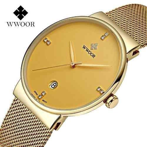 Wwoor - Relógio Masculino Ultra Fino Elegante Malha De Aço