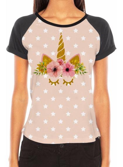 Camiseta Feminina Unicórnio Estrela Flor Amor Personalizado