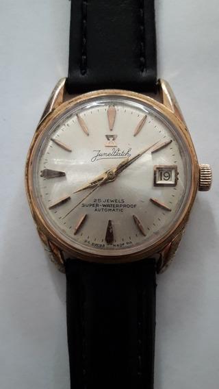 Relógio Junewatch Automático, Caixa Em Plaque De Ouro.