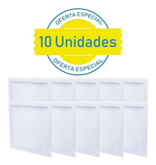 Kit 10 Plafon Quadrado 25w Embutir Painel Led Branco Frio