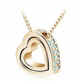 Pingente Flutuante Coração Dourado Colar De Luxo Feminino!