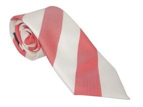 Corbata Italiana Franjas Salmon Y Blancas