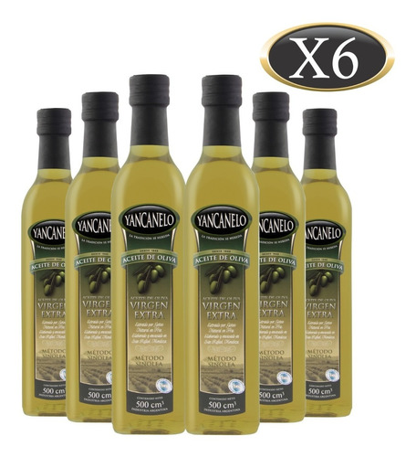 Imagen 1 de 9 de Aceite De Oliva Extra Virgen Yancanelo Botella 500 Ml X 6 U