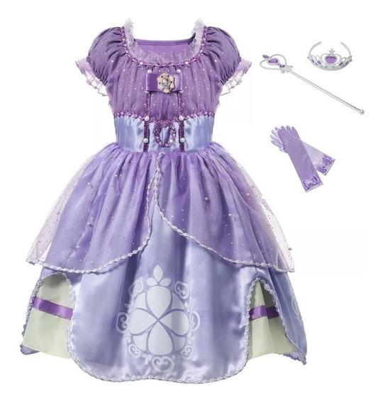 Fantasia Vestido Princesa Sofia Luxo Com Luvas E Varinha