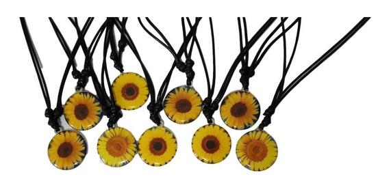 24 Unidades Colar De Flor Margarida Amarela Girassol