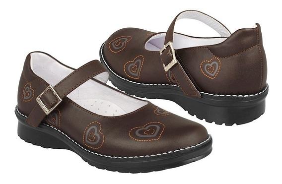Zapato Escolar Dominiq Para Niña Simipiel Cafe 594