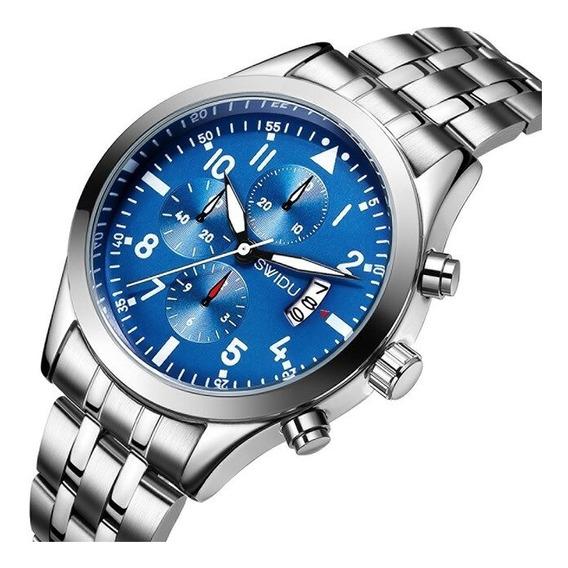 Reloj Original Swidu Blue And Silver Elegante Para Hombre