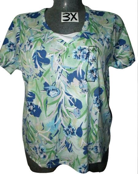 Blusa Verde Y Azul Estampada Casual Talla 3x (42/44) Basic