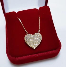 Colar Feminino Namorado Coração Cristal Banhado Ouro 18k