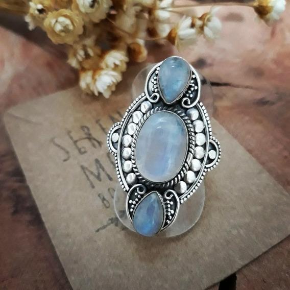 Anel Indiano Com Pedra Da Lua Prata 925.