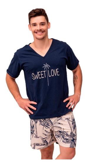 Pijama Masculino Curto Estampado Moderno. Ótima Qualidade.