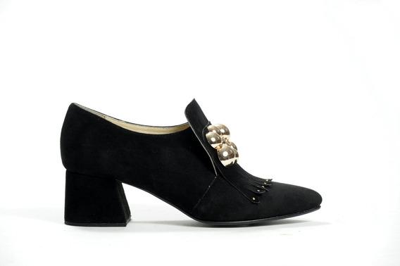 Zapato Mujer Botineta Natacha Gamuza Negra Con Aplique #470
