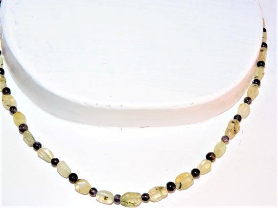 Collar Piedra Prenita Zafiro Agua (sunil) + 2 Pulseras Jade