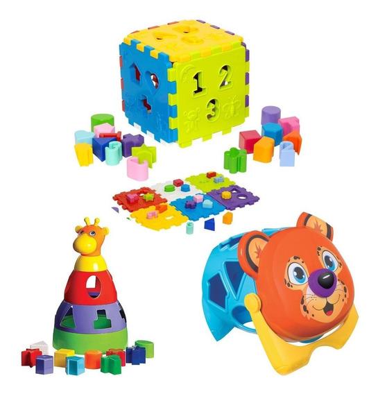 3 Brinquedo Didática Educativa Onça Cubo E Girafa Mercotoys