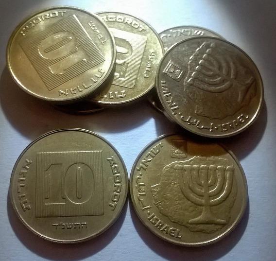 Israel - Moneda De 10 Agorot - Candelabro De 7 Brazos