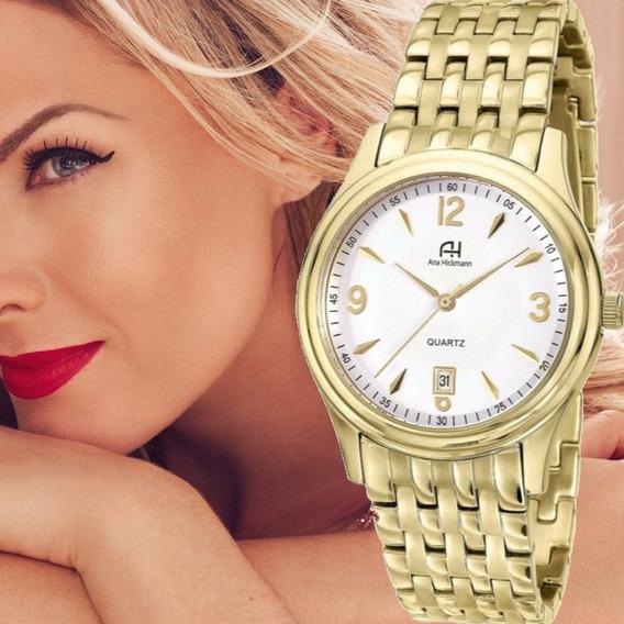 Relógio Ana Hickmann Original Feminino Dourado Todo Em Aço Ah28508h