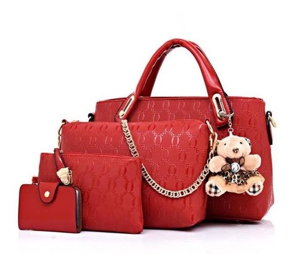 Bolsa Feminina Kit Conjunto 4 Peças Luxo Lindas
