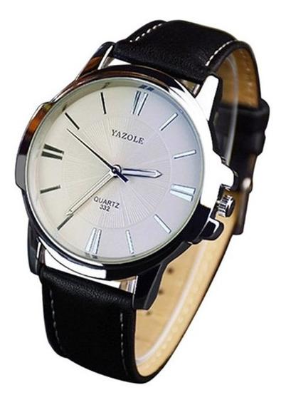 Relógio Masculino Yazole 332 Pulseira Couro Preta