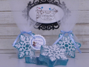 30 Sabonetes Floco Neve Frozen: Embalado (tule + Laço Cetim)