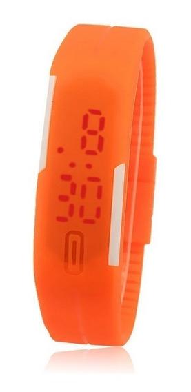 Relógio Abóbora Digital Slim Led Silicone Pulseira Borracha