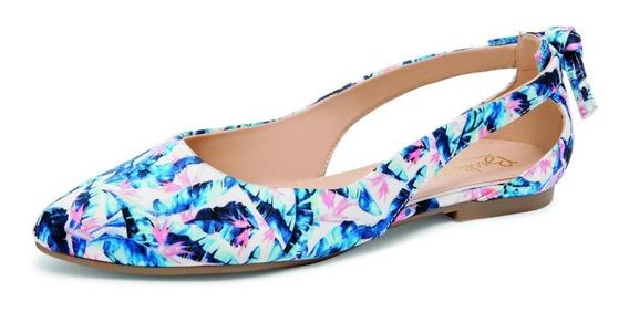 Sandalia De Verano Para Dama Color Azul Marino O Azul Flores