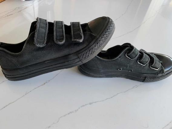 Zapatillas Levis Tipo Converse Talla 33.5 Negro Ca A Alta