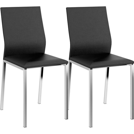 Conjunto 2 Cadeiras Aço Cromado Revestimento Em Couríssimo - Carraro 1804